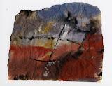 composition en bleu et rouge / papier t.mixte / 20x30 / 1995