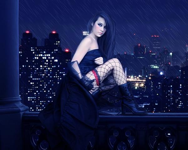 Gothic Beauty At Night City, Gothic Girls