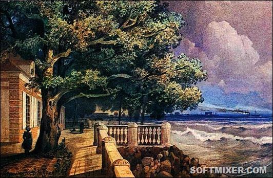 Terrasa-Monplezira-v-Petergofe.Akvarel-A.-M.-Dorogova.1847