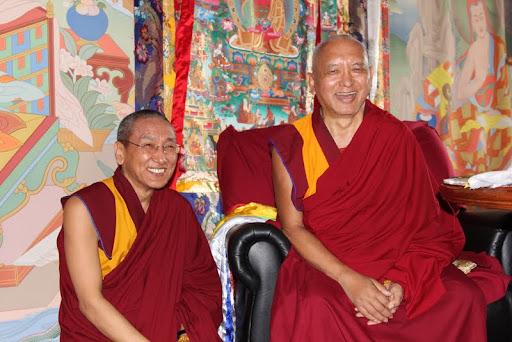 Khen Rinpoche Geshe Chonyi with Lama Zopa Rinpoche, Kopan Monastery, Nepal, July 2011. Photo by Ven. Roger Kunsang.