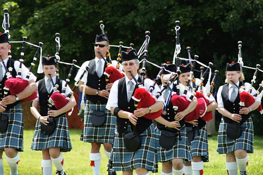 Bagpipers perform during the New Glasgow Festival of the Tartans in Pictou, Nova Scotia.