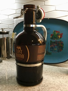 Traditional 64-ounce brown glass growler