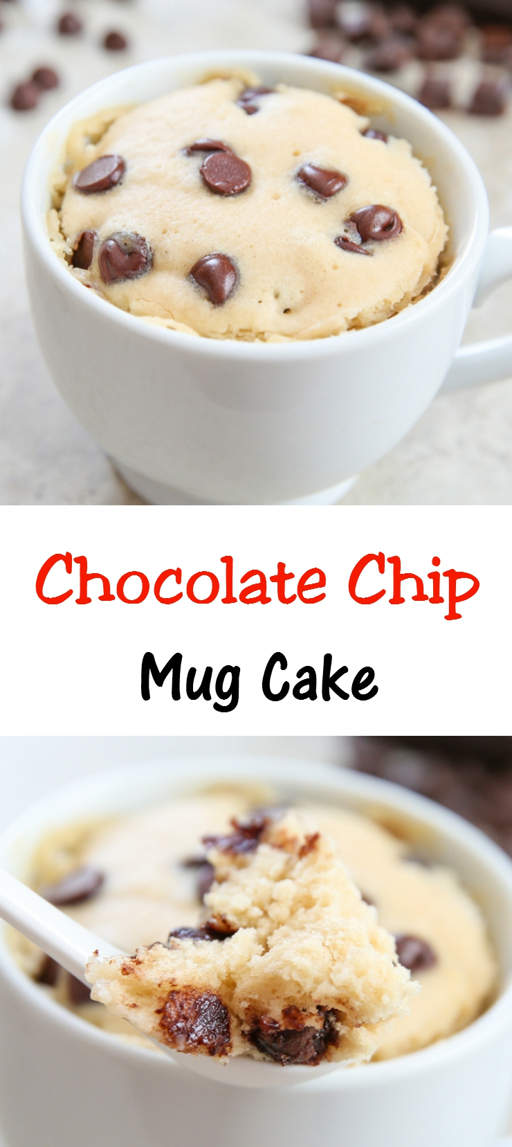 photo collage of Chocolate Chip Mug Cake