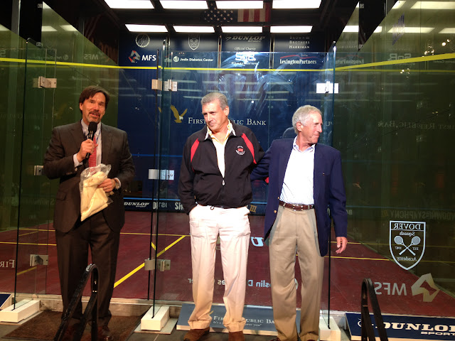 John Nimick congratulates Tom Poor and Lenny Bernheimer, future inductees to the Hall of Fame