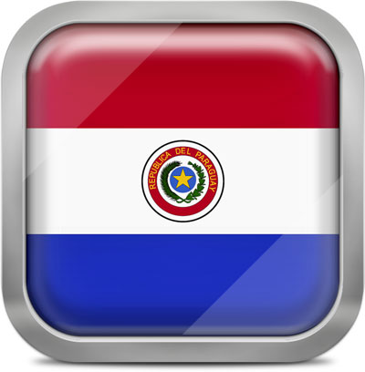 Paraguay square flag with metallic frame