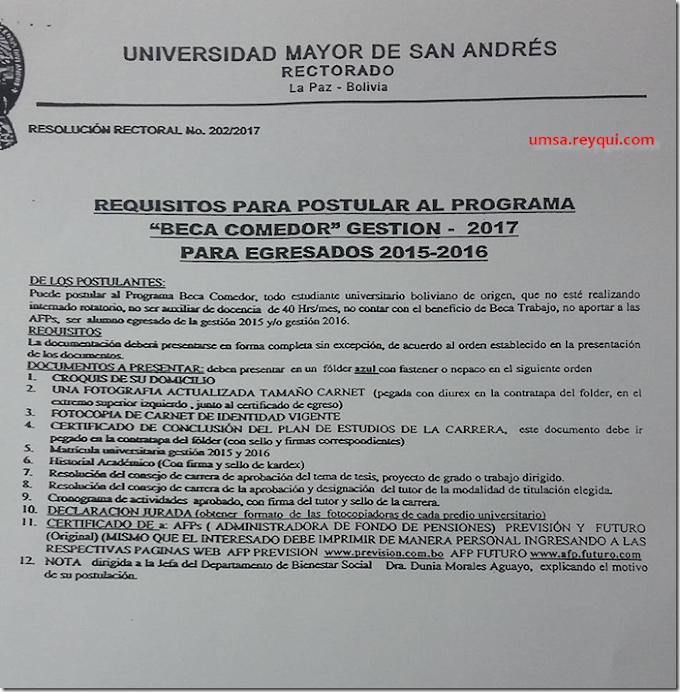 """UMSA: Requisitos para """"Beca Comedor"""" Gestión 2017 para EGRESADOS 2015-2016"""