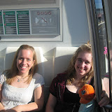 Jen and Meghan on the tram, waiting for our flight.