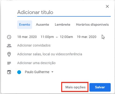 Mais opções do Google Agenda
