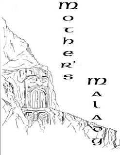 """Lineart of a doorway carved into a mountainside. It resembles a fantasy dwarf's face, with helm and whiskers. A crumbling stair leads up to the entrance from some place below. The title text """"Mother's Malady"""" is written vertically to one side."""
