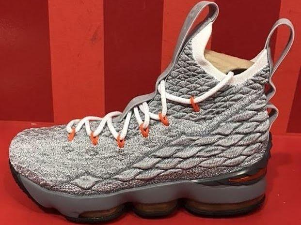 Nike LeBron 15 GS – Grey   Safety Orange – Release Info  1cf57c8d4c5f