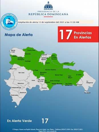 Elevan a 17 las provincias en alerta verde contra inundaciones