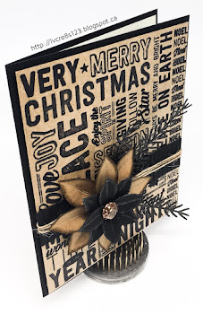 Linda Vich Creates: Merry Medley in Rustic Tones. Dramatic Christmas card created by pairing the Merry Medley stamp in black with Kraft card stock, accompanied by a poinsettia and pine sprigs.