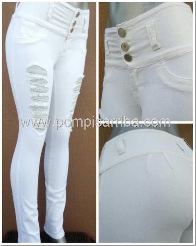 Pantalon Blanco con destruccion en piernas