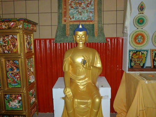 Maitreya statue inside the Great Stupa Exhibition Centre where holy objects are exhibited that have been collected for the Great Stupa of Universal Compassion, Maiden Gully, Australia, May 2011