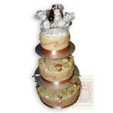 3. kép: Esküvői torták - Esküvői három szintes vőlegény és menyasszony figurás torta