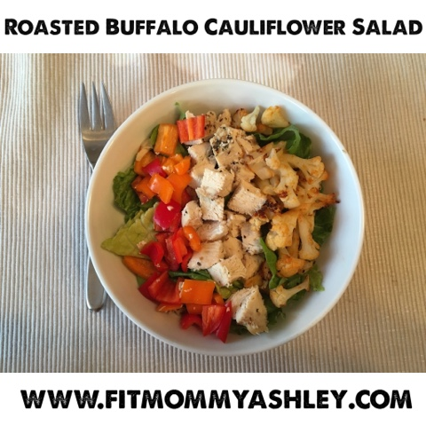 salad, roasted, chicken, cauliflower, buffalo, wing, easy, simple, 21 day fix, healthy, clean