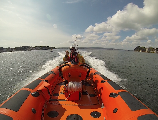 Back within Poole Harbour - and enjoying the life on the high seas too much! Sunday 4 May 2014.   Photo: RNLI Poole/ Dave Riley