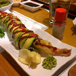 my favorite roll, Catapillar roll loaded with avocado in Toronto, Ontario, Canada