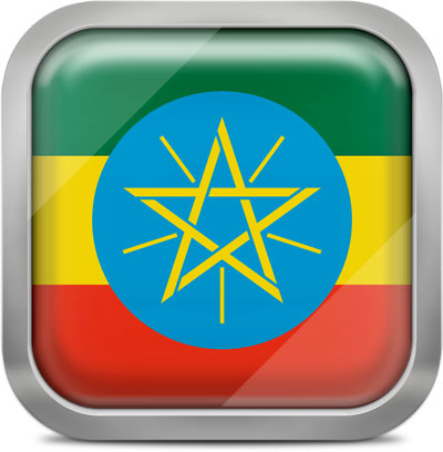 Ethiopia square flag with metallic frame