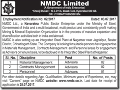NMDC Limited Advisors Jobs 2017 www.indgovtjobs.in