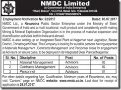 NMDC Limited Advisors Jobs 2017 www.indgovtjobs.in