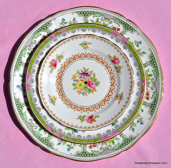 Vintage pink and green mismatched floral patterns