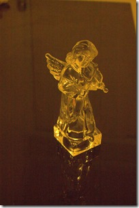 Glass angel under incadescent available light