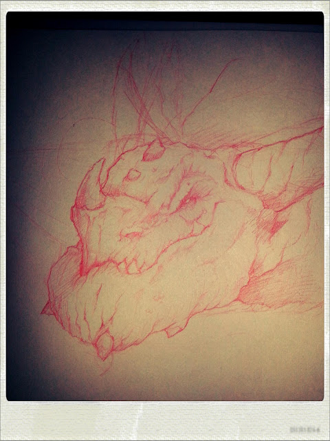 Draw night sketch unfinished dragon