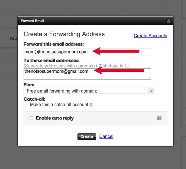 Creating forwarding address godaddy