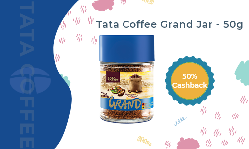 Flat 40% cashback on Tata Coffee Grand Jar (Only Mumbai & Delhi)