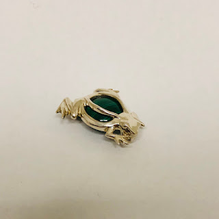 Sterling Silver and Malachite Frog Brooch/Pendant