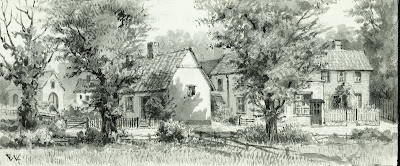 """The Chapel and Ellum's thatched cottage - Stearn's House - Butlar's house and shop - Elbourn's house - King's Farm."" From A Record of Shelford Parva by Fanny Wale P27"