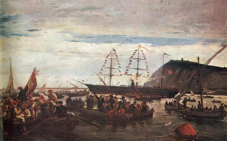 El vapor ESPAÑA embarcando voluntarios catalanes. Año 1869. Oleo de Ramón Padró y Pedret.jpg