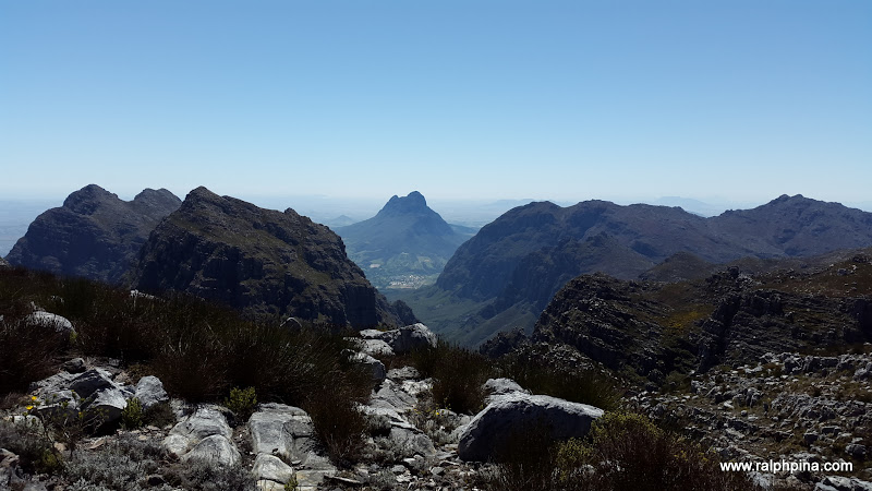 View north from Banghoek Peak. Banghoekkloof opens out to Simonsberg