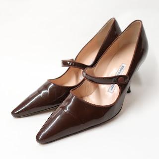 Manolo Blahnik Patent Leather Brown Pumps