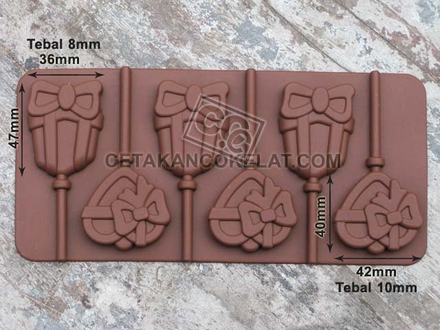 cetakan coklat cokelat silikon lolipop love kado pita SIL085 SIL85