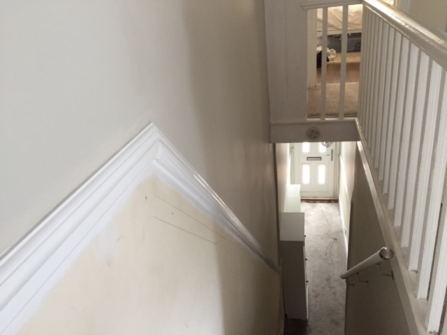 Installing a dado rail diy daddy - How to wallpaper stairs and landing ...