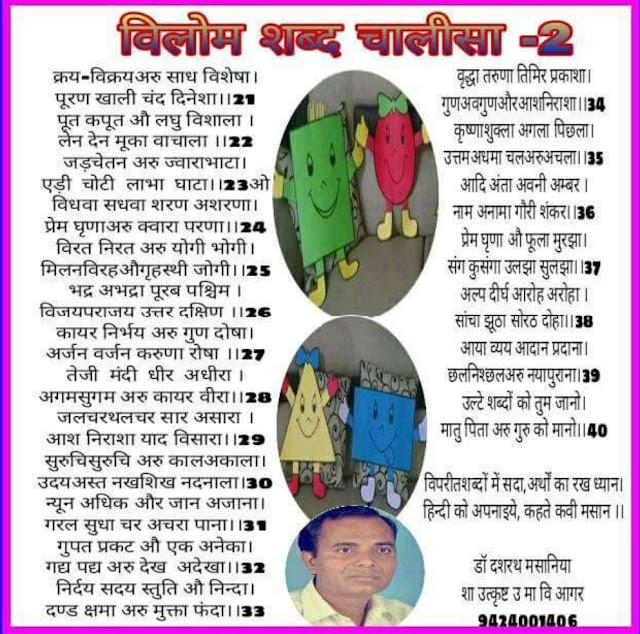 विलोम शब्द चालीसा : Opposites Word हिंदी ज्ञान (Hindi Gyan ) में पढ़ें