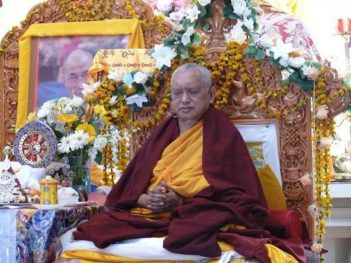 Lama Zopa Rinpoche during long life puja at Tushita Retreat Center, December, 2011.