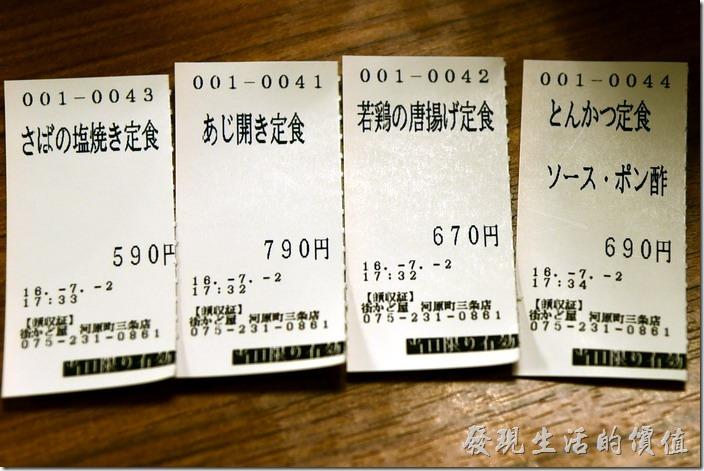 日本-街角屋平價和食定食料理。這是我們家這次點的菜色餐卷。