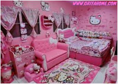 gambar kamar tidur hello kitty sederhana