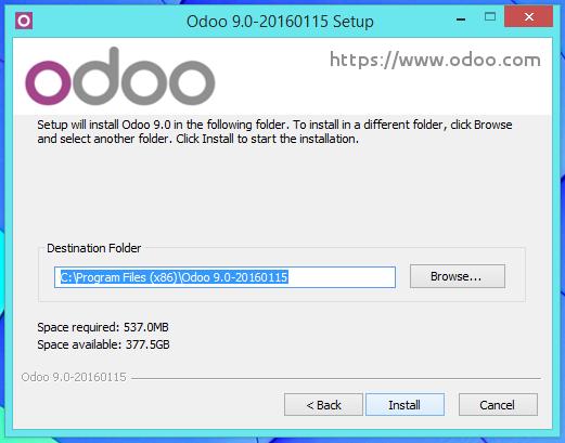 Definir ruta de instalación de Odoo 9