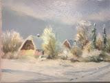 mój dom zimą, Las, olej, płótno, 18x24 cm