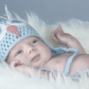Dylan by Azzeria Photography - Babies & Children Babies ( studio, cute, photo, photography, portrait, newborn, eyes, hat, azzeria, blanket, fluffy, hands, blue, lips, adorable, sheep, baby, fotograaf, boy, assen )