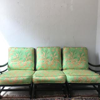 Heywood Wakefield Asian Black Wood Sofa