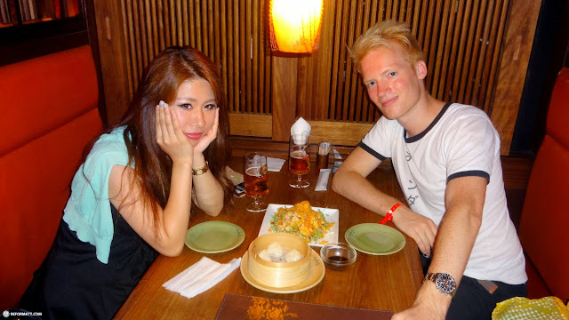 dinner time with my friend Saki at a Chinese fusion restaurant in the Ebisu district in Shibuya, Tokyo, Japan