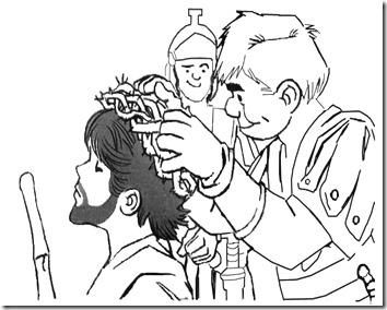 Dibujo para colorear de Jesús coronado de espinas