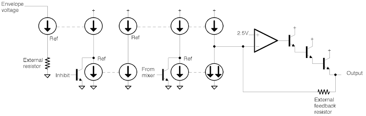 Schematic of output circuit inside the 76477 sound chip.