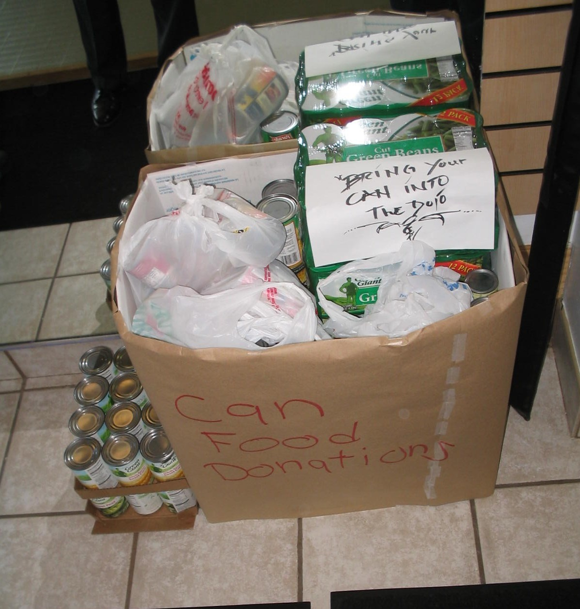 There was a food drive for United Methodist Church of Worth Food Pantry. Food was collected at the dojo and delivered on November 21st, 2009. We were able to feed 90 families.