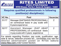 RITES Limited Vacancy 2017 www.indgovtjobs.in
